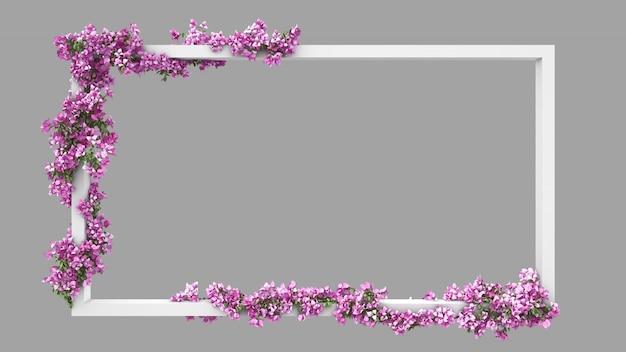 Pusta Ramka Prostokątna Z Różowym Filtrem Akwarela Bougainvillea Premium Psd