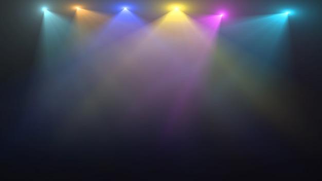 Pusta scena z kolorowymi reflektorami Premium Psd