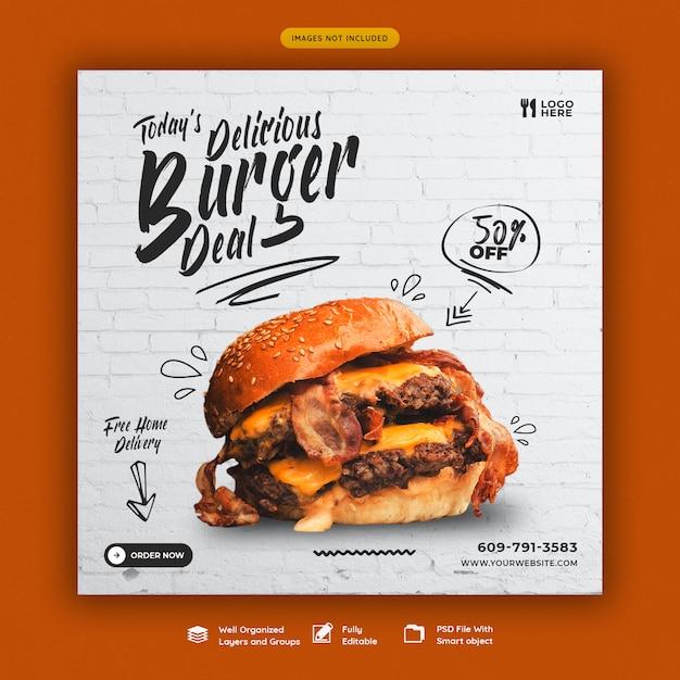 Pyszne Burger I Jedzenie Menu Szablon Mediów Społecznych Banner Premium Psd