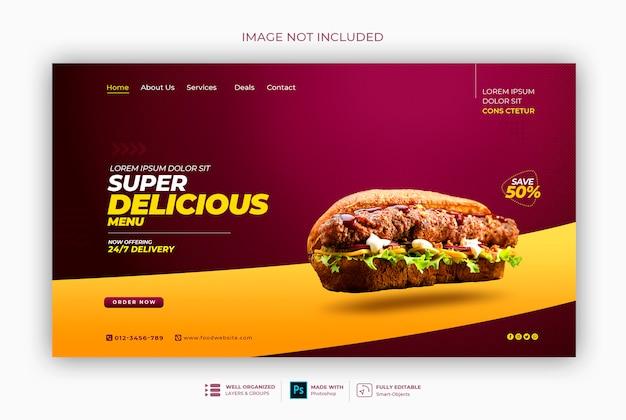Pyszne Jedzenie Lub Restauracja Szablon Baneru Internetowego Premium Psd