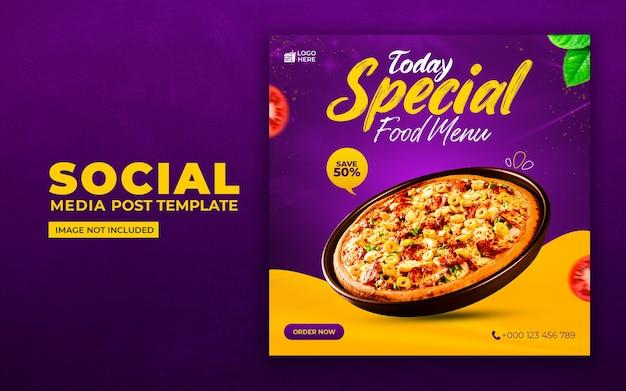 Pyszne Jedzenie W Mediach Społecznościowych I Szablon Postu Na Instagramie Premium Psd