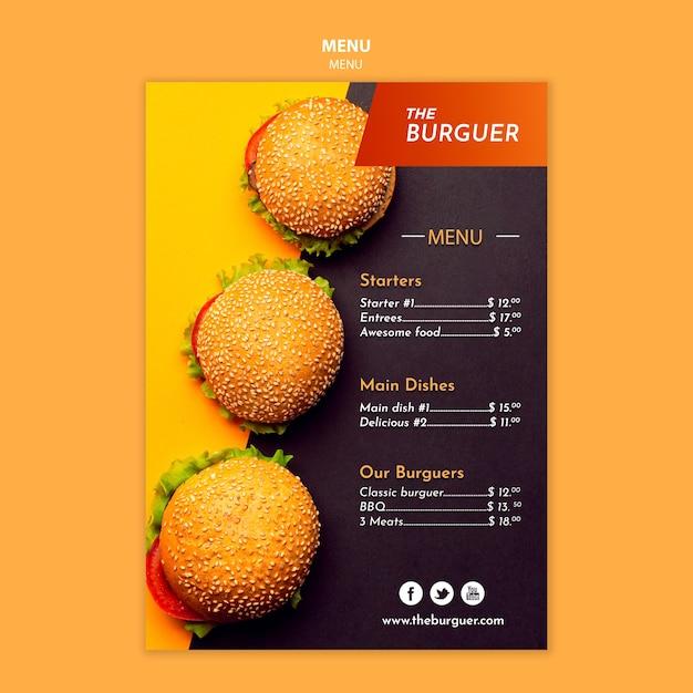 Pyszne Menu Restauracji Burgerowej Darmowe Psd