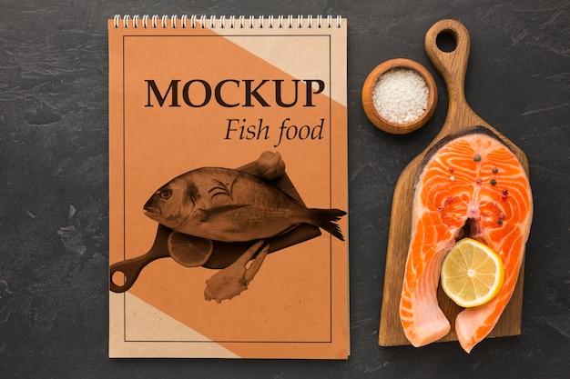 Pyszny Układ Pokarmu Dla Ryb Powyżej Widoku Darmowe Psd