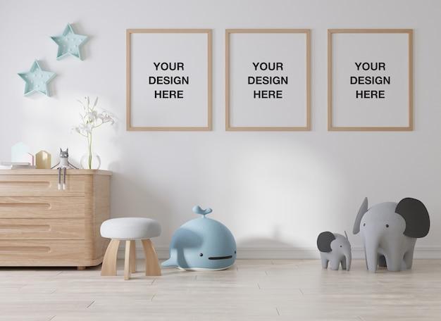Rama Plakatowa Makieta W Pokoju Dziecięcym Premium Psd