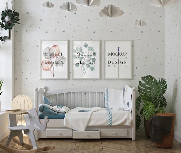Rama Plakatowa Makiety Z Nowoczesną I Białą Sypialnią Dla Dziecka Premium Psd