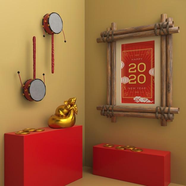 Rama Z Datą Nowego Roku Na ścianie Darmowe Psd