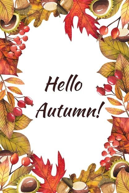 Rama z jesiennych liści malowane akwarelą Premium Psd
