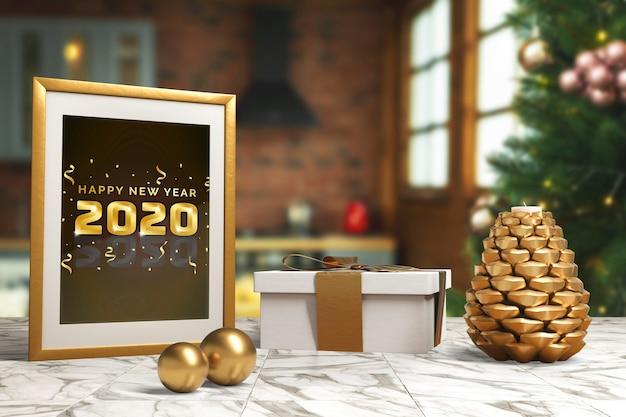 Rama Z życzeniem Nowego Roku Na Stole Darmowe Psd