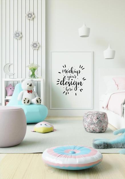 Ramka Plakatowa W Makiecie Sypialni Dziecięcej Darmowe Psd