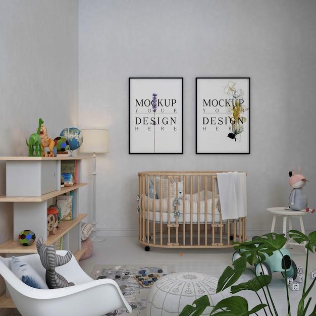 Ramki Do Plakatów Makietowych W Prostym, Monochromatycznym Pokoju Dziecięcym Premium Psd
