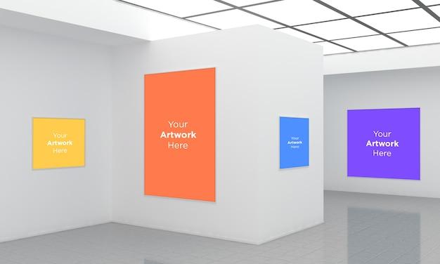 Ramki Galerii Sztuki Muckup Ilustracja 3d I Widok Narożnika Renderowania 3d Premium Psd