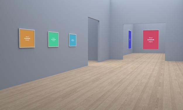 Ramki Galerii Sztuki Muckup Ilustracja 3d I Widok Narożny Renderowania 3d Na Szarych ścianach Premium Psd