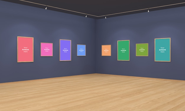Ramki Galerii Sztuki Muckup Ilustracja 3d I Widok Narożny Renderowania 3d Z Punktowymi światłami Premium Psd