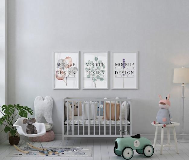 Ramki Plakatowe Makiety W Białym Prostym Pokoju Dziecięcym Premium Psd