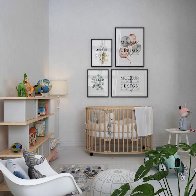 Ramki Plakatowe Makiety W Prostym, Pastelowym Pokoju Dziecięcym Premium Psd