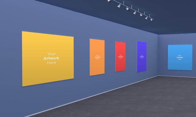 Ramki Z Galerii Sztuki Muckup Ze światłami Punktowymi Widok Narożnika Ilustracji 3d Premium Psd