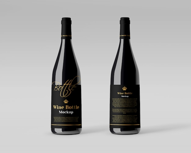 Realistyczna Makieta Butelki Wina Premium Psd