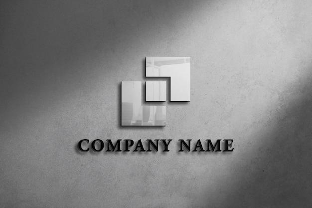 Realistyczna Makieta Logo Na ścianie Z Szarym Tłem Premium Psd