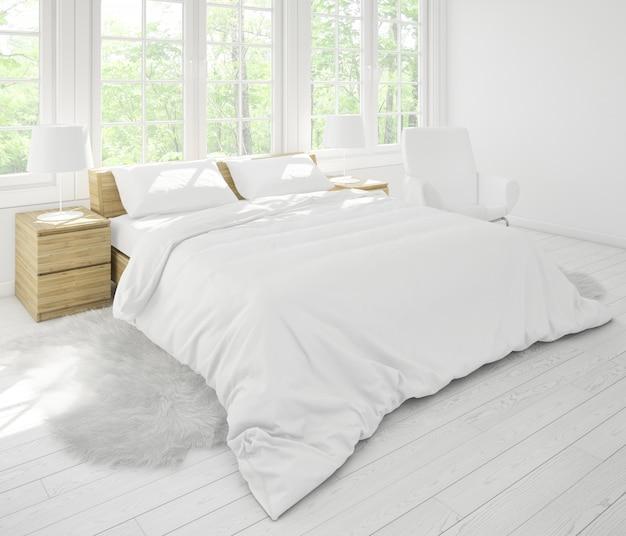 Realistyczna Sypialnia Z Podwójnymi Meblami I Dużymi Oknami Darmowe Psd