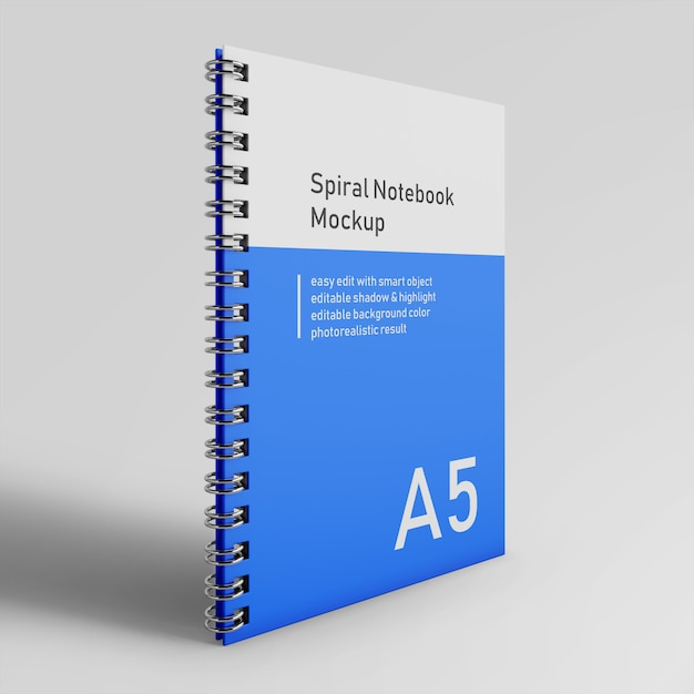 Realistyczne pojedynczej tożsamości korporacyjnej twardej spirali segregator notebooka makieta szablon projektu z przodu widok perspektywiczny Premium Psd