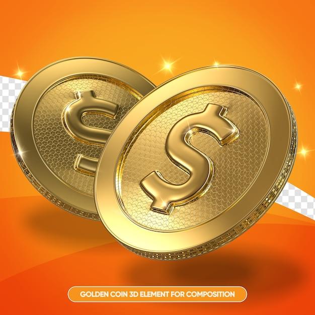 Realistyczne Złote Monety W 3d Renderowania Na Białym Tle Premium Psd