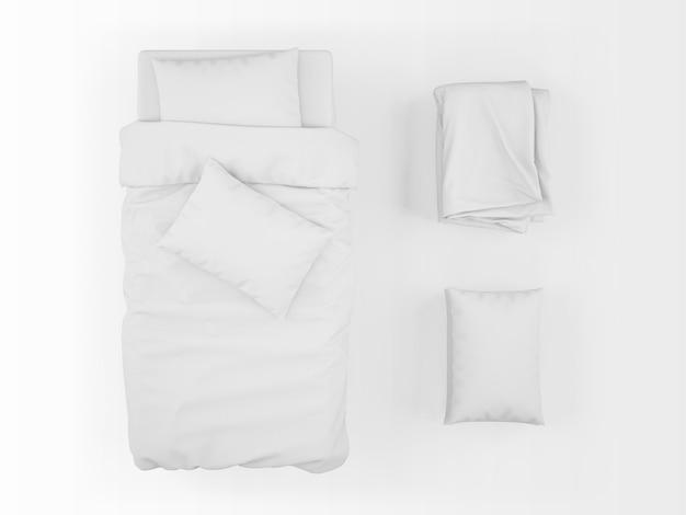 Realistyczny Makieta łóżka, Kołdry I Poduszki W Widoku Z Góry Darmowe Psd