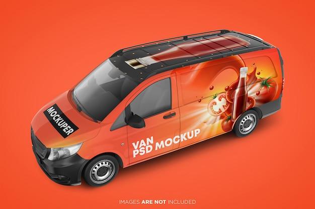 Realistyczny Widok Z Przodu Makiety Van Psd Premium Psd