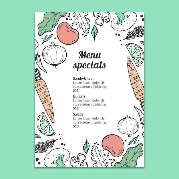 Ręcznie rysowane menu makieta Darmowe Psd