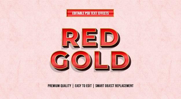 Red gold edytowalne szablony efektów tekstowych psd Premium Psd