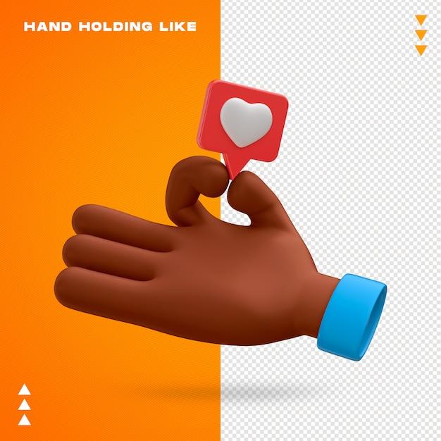Ręka Trzyma Jak Projekt 3d Emoji Premium Psd