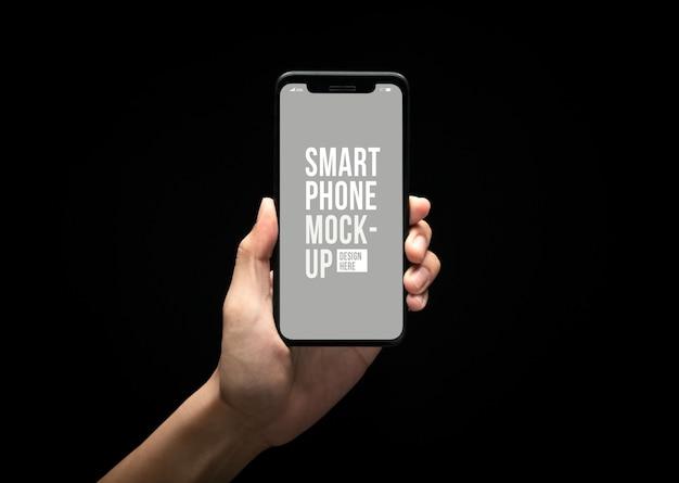 Ręka Trzyma Nowoczesny Smartfon Z Szablonu Makieta Ekranu Premium Psd