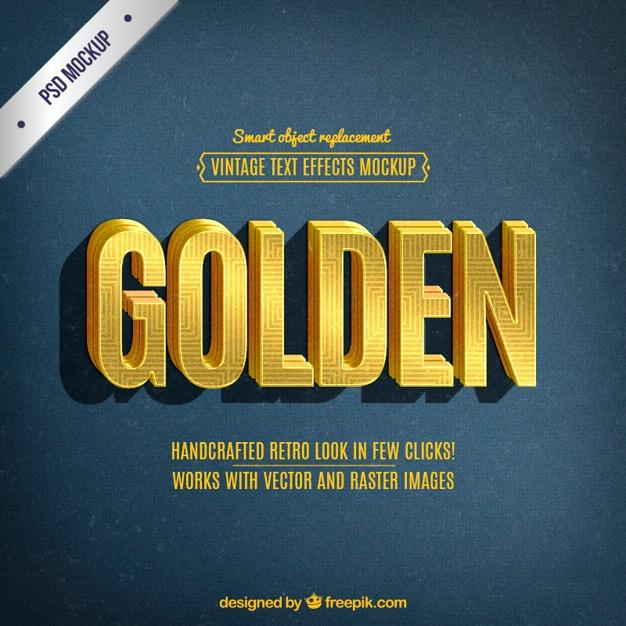 Retro złoty napis Darmowe Psd
