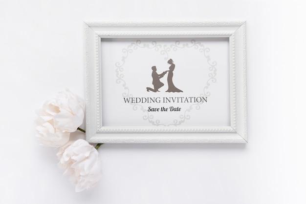 Romantyczna Ramka Z Zaproszeniem Na ślub Darmowe Psd