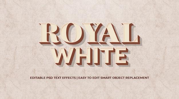 Royal white 3d styl tekstowy premium psd Premium Psd