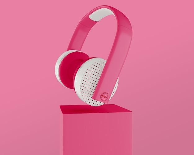 Rozmieszczenie Z Różowym Zestawem Słuchawkowym I Tłem Darmowe Psd