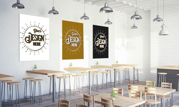 Różne Plakaty Na Makiecie ściany Restauracji Premium Psd