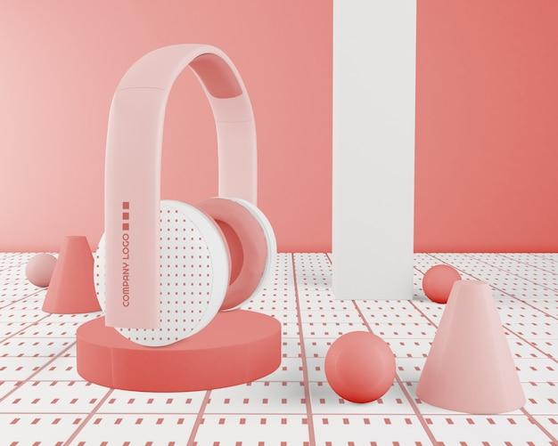 Różowe Minimalistyczne Słuchawki Bezprzewodowe Darmowe Psd