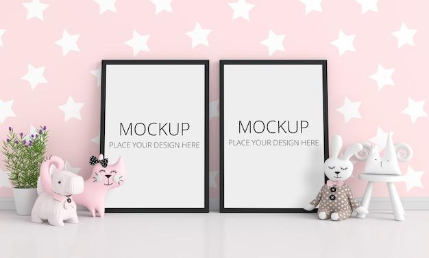 Różowy Pokój Dziecięcy Z Makietą Ramki Premium Psd