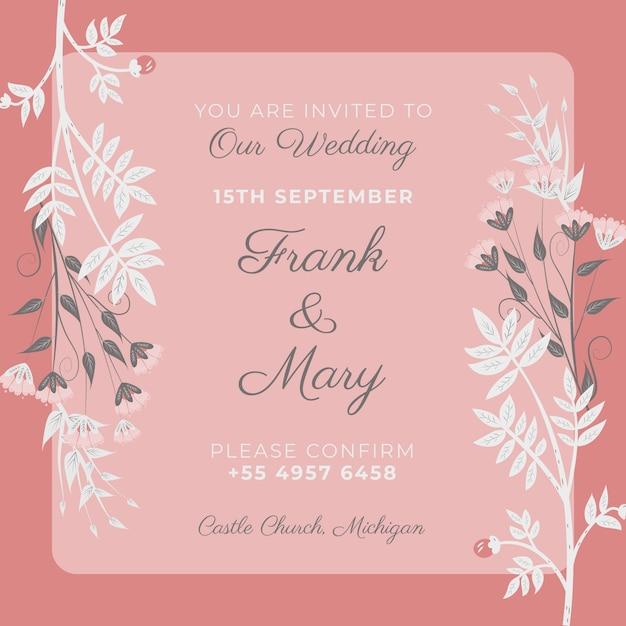 Różowy szablon zaproszenia ślubne Darmowe Psd
