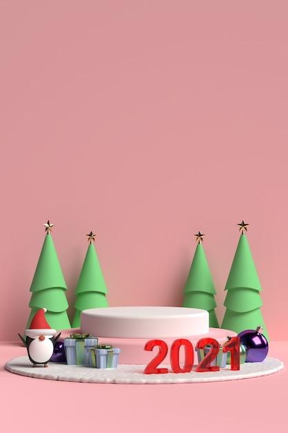 Scena Podium Boże Narodzenie Z Pudełkiem I Pingwinem Na Różowym Tle W Renderowaniu 3d Premium Psd