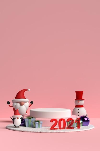 Scena Podium Bożego Narodzenia Z Mikołajem I Przyjaciółmi Na Różowym Tle W Renderowaniu 3d Premium Psd