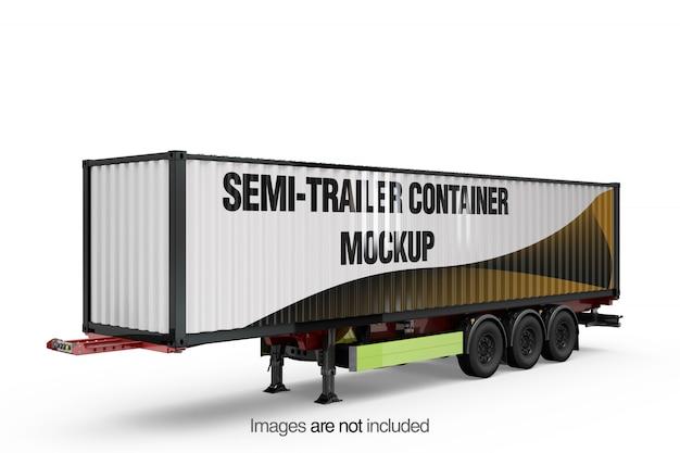 Semi-trailer Container Mockup Darmowe Psd