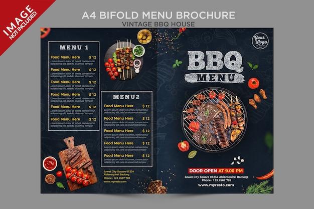 Seria Broszur A4 Vintage Bbq House Bifold Housemenu Premium Psd
