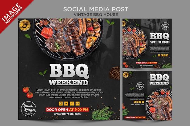 Seria Postów W Mediach Społecznościowych Vintage Bbq House Premium Psd