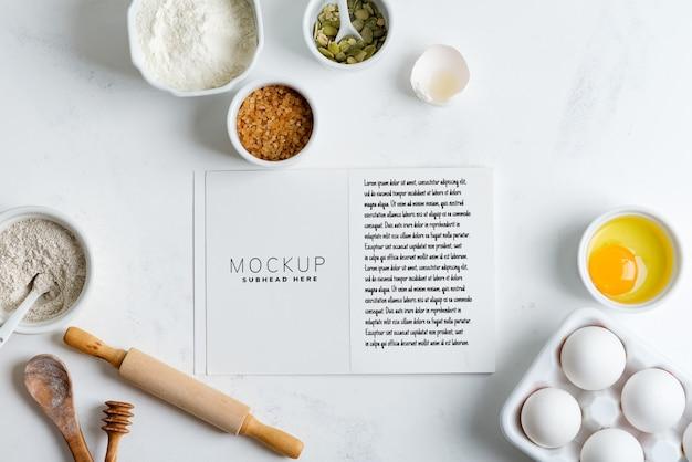 Składniki Do Pieczenia Domowego Chleba Tradycyjnego Z Papierem Według Przepisu Makieta Premium Psd