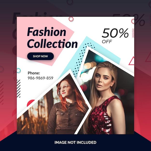 Sklep odzieżowy instagram post, kwadratowy baner lub szablon ulotki Premium Psd