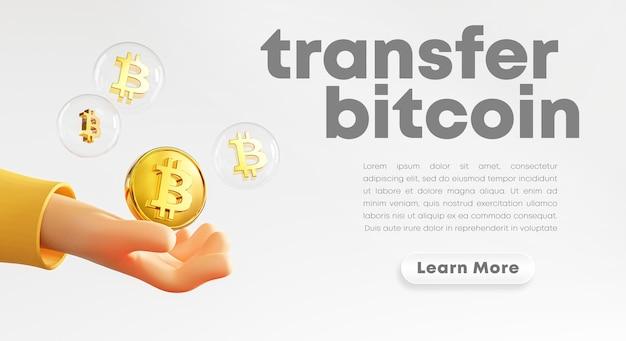 Śliczna Dłoń Trzymająca Bitcoin Bańki Renderingu Premium Psd