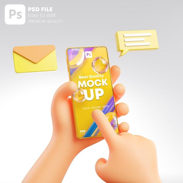 Śliczna Dłoń Trzymająca I Dotykająca Wiadomość Telefonu Pop Up Makieta Renderowania 3d Premium Psd