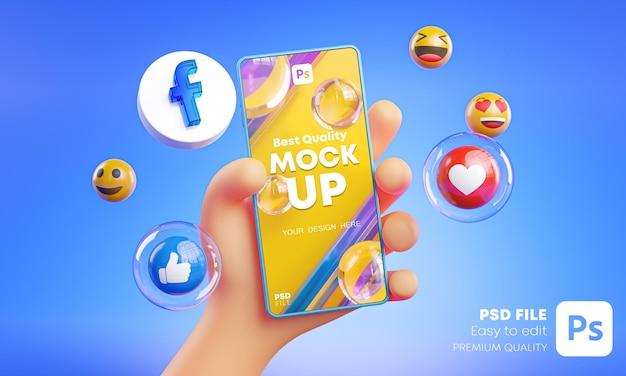 Śliczna Ręka Trzyma Telefon Facebook Ikony Wokół Makiety Renderowania 3d Premium Psd