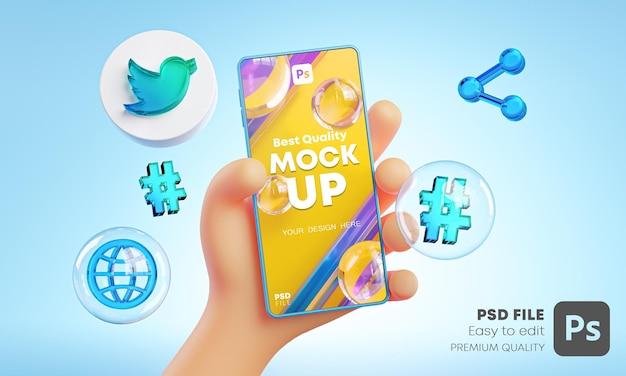 Śliczna Ręka Trzyma Telefon Twitter Ikony Wokół Makieta Renderowania 3d Premium Psd